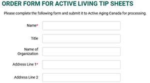 Order form for Active Living Tip Sheets